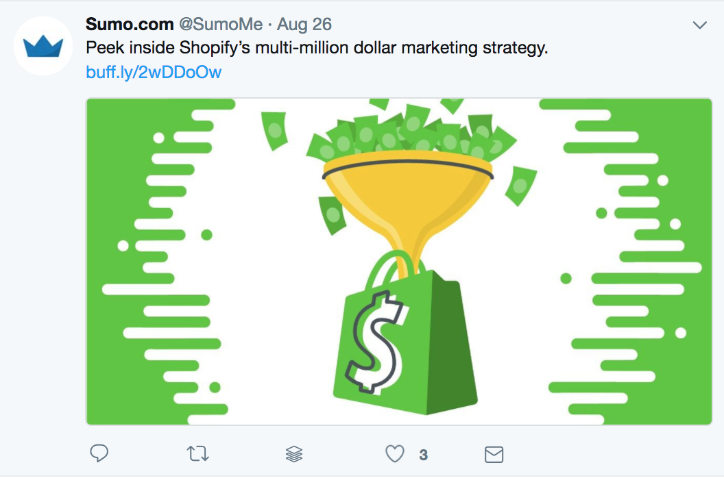 Screenshot showing a twitter post by Sumo promoting an article