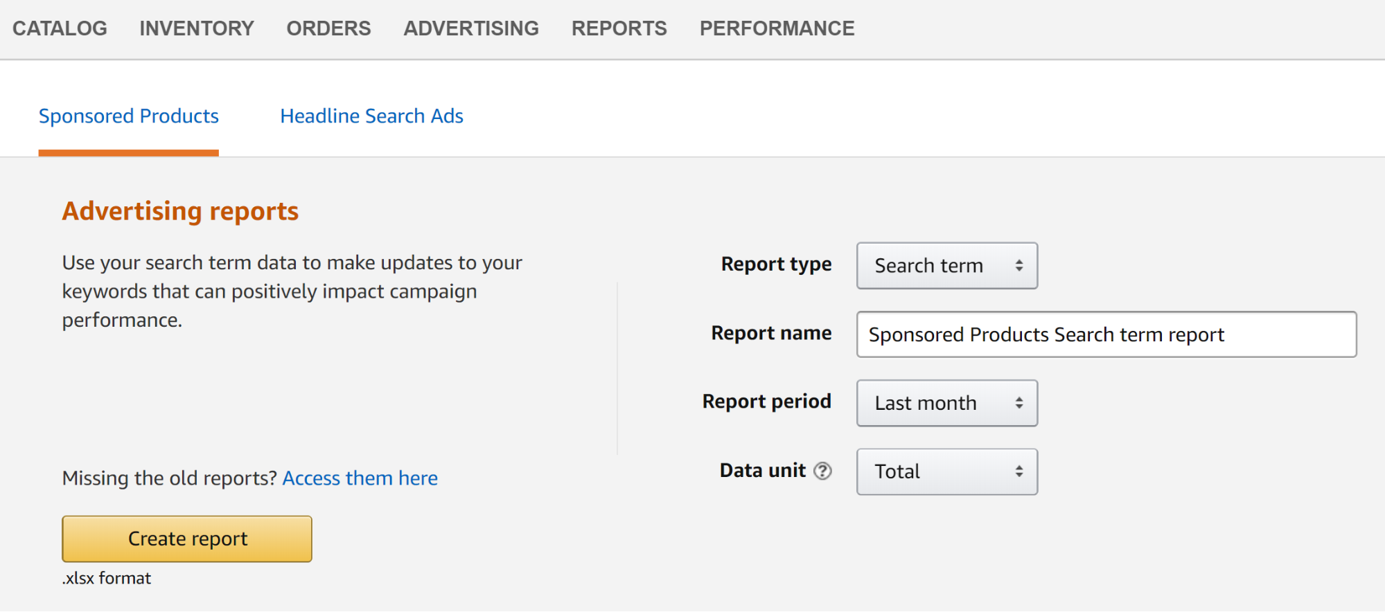"Screenshot showing ""create report"" page on amazon"
