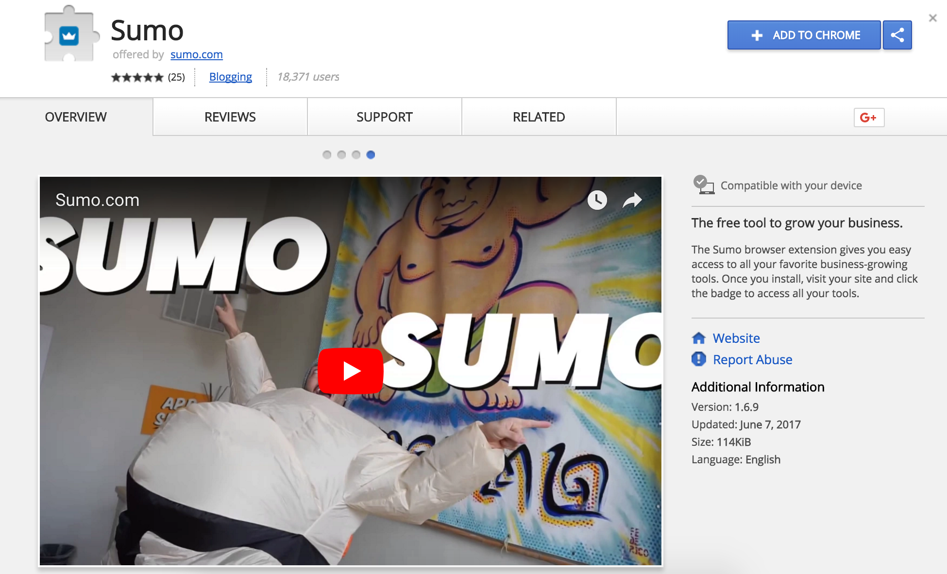 Screenshot of the Sumo Chrome Extension