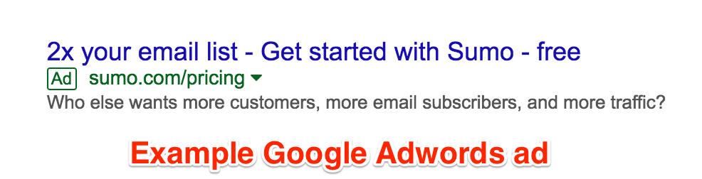 Screenshot showing an Adwords ad for Sumo