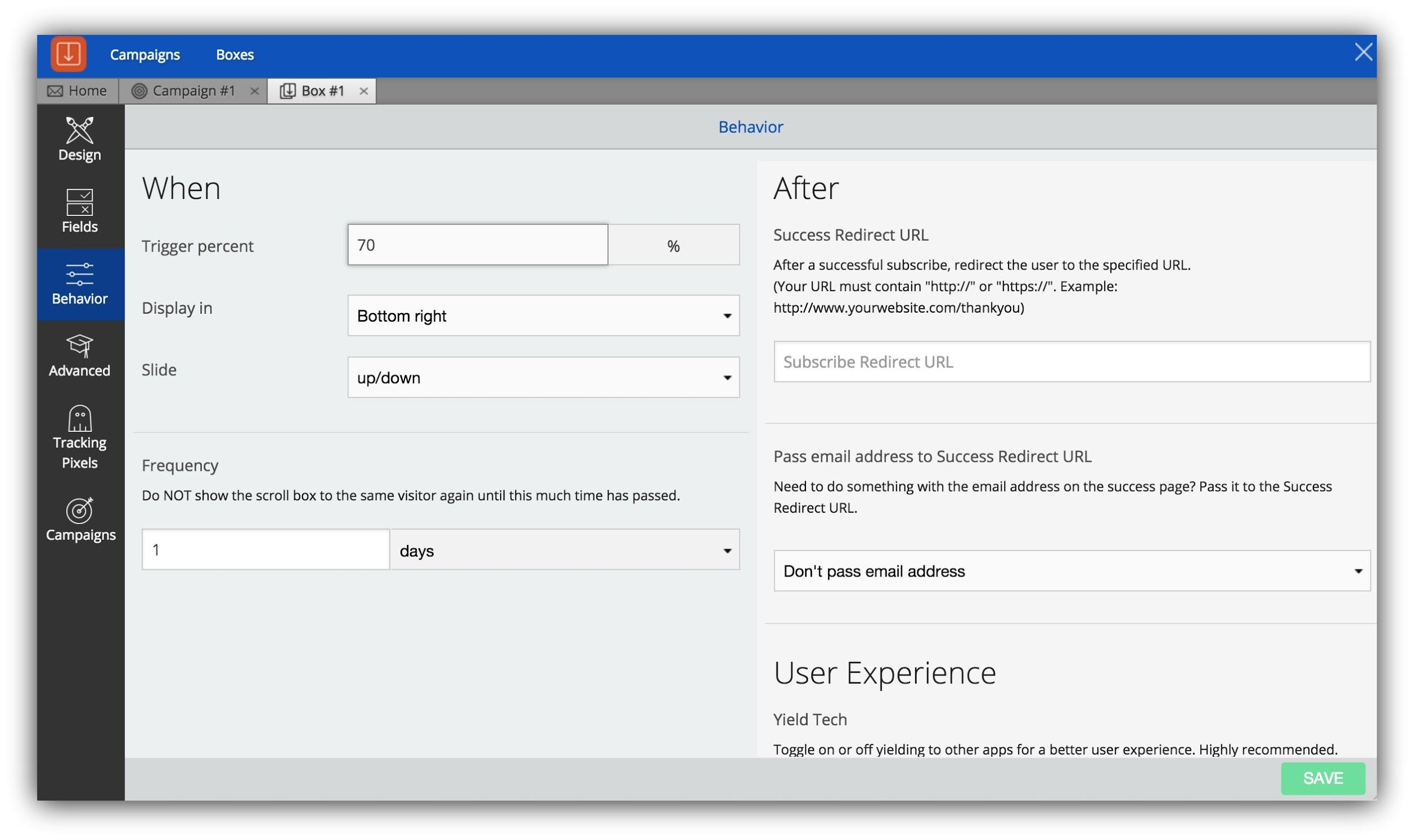 Screenshot showing the behavior settings for a welcome mat on the Sumo dashboard