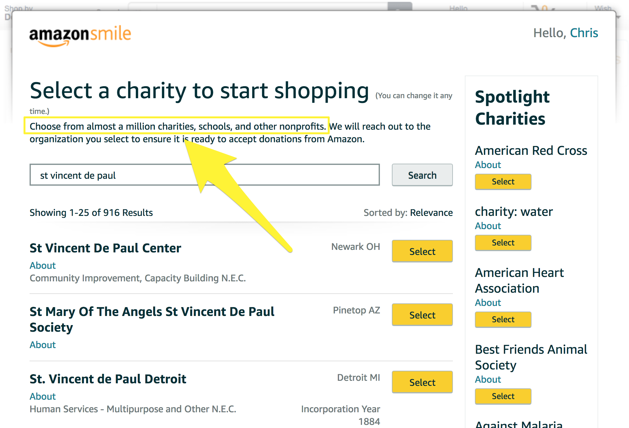 Screenshot showing the charity options on amazon