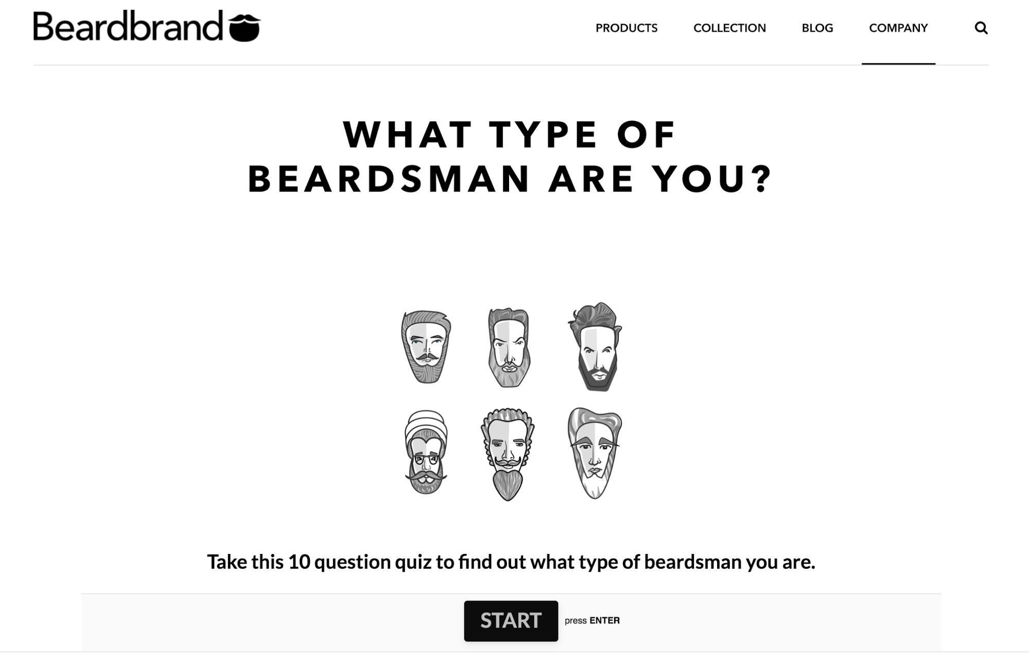 Screenshot showing a quiz page on beardbrand