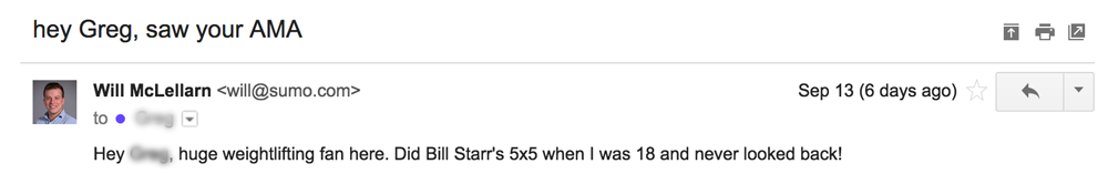 Screenshot of an email sent by Will to a weightlifting product creator, and its title