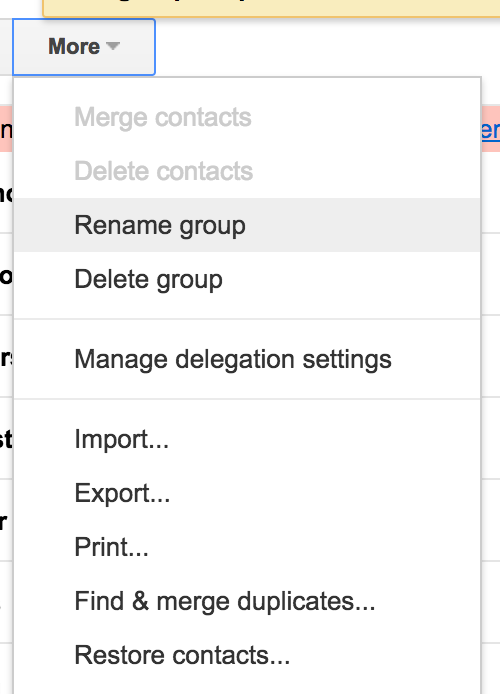 Screenshot showing settings in a dropdown menu