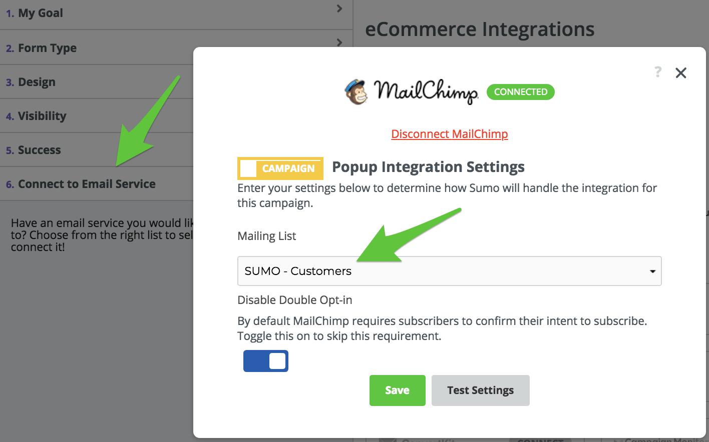 Screenshot showing Sumo email settings