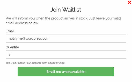 Screenshot showing a waitlist popup