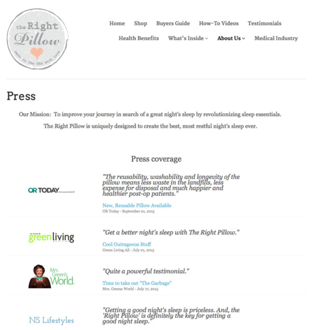 Screenshot showing a press page