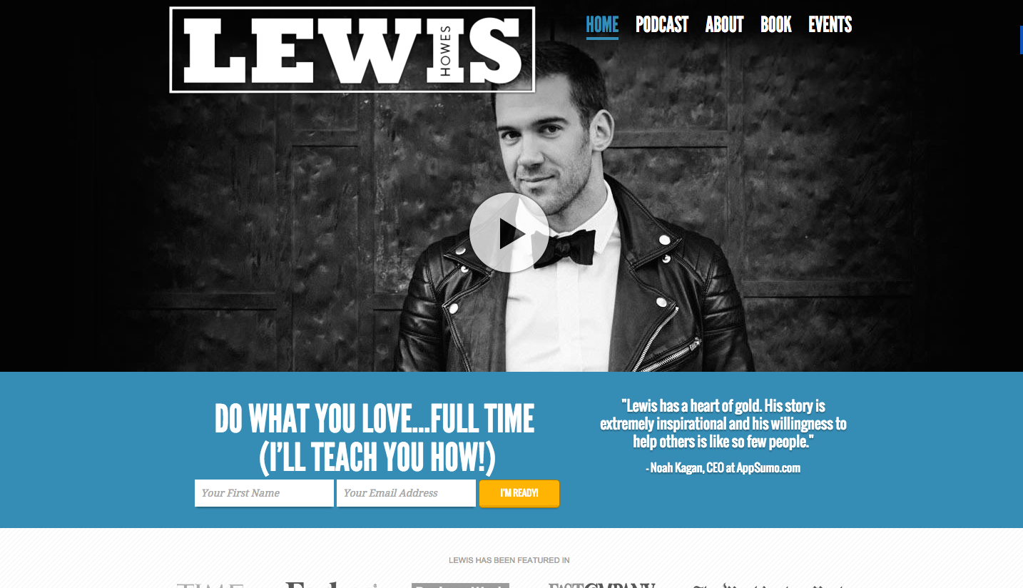 Screenshot of Lewis Howes using testimonials on his landing page