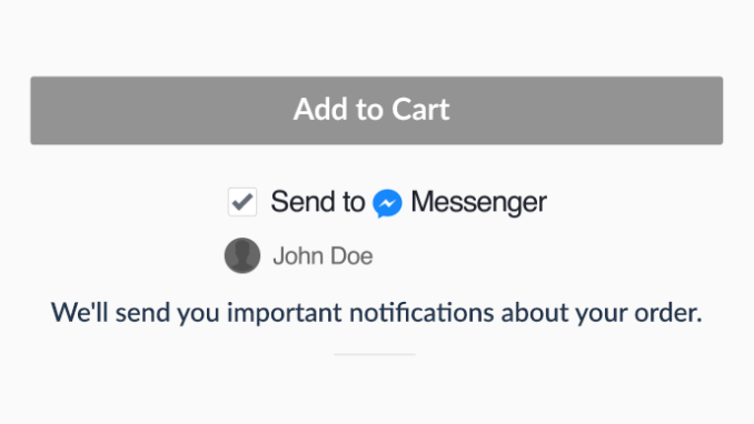"""Screenshot showing the """"send to messenger"""" option under the add to cart button"""