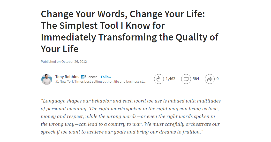 Screenshot of a short article on Tony Robbins