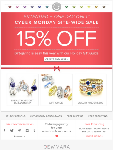 Screenshot showing a cyber monday promo banner on a landing page