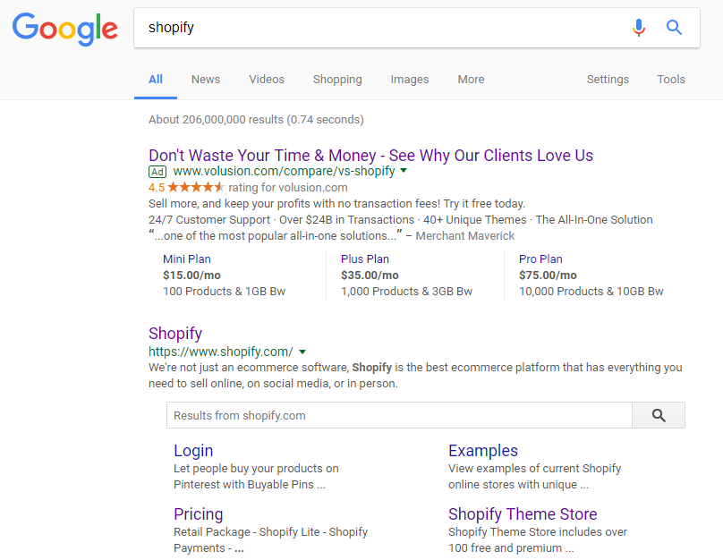 "Google search results for ""shopify"""