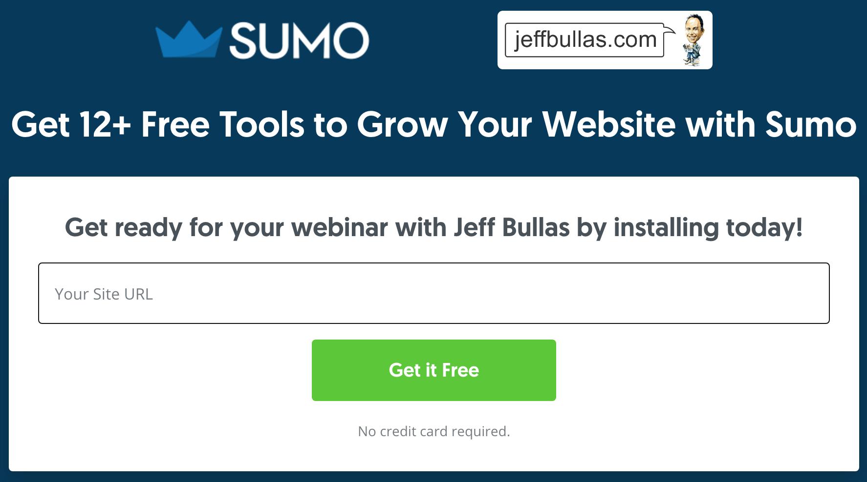 Screenshot showing a CTA on Sumo.com
