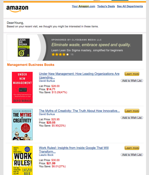 Screenshot showing an email by Amazon