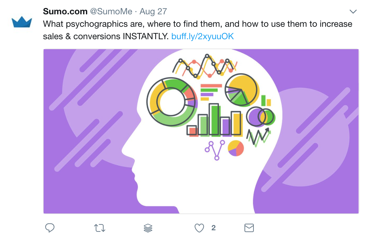 Screenshot of a tweet by Sumo promoting a piece of content