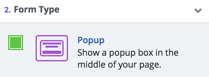 Screenshot showing form type options for a sumo popup