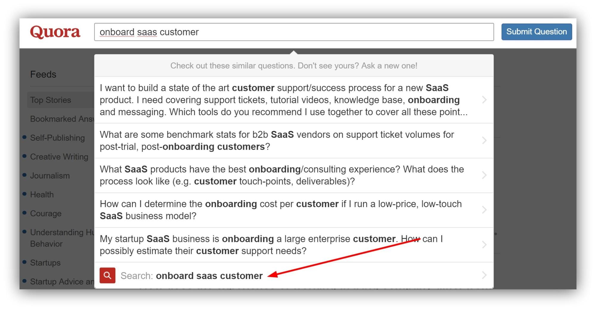 "Screenshot showing a quora search for ""onboard saas customer"""