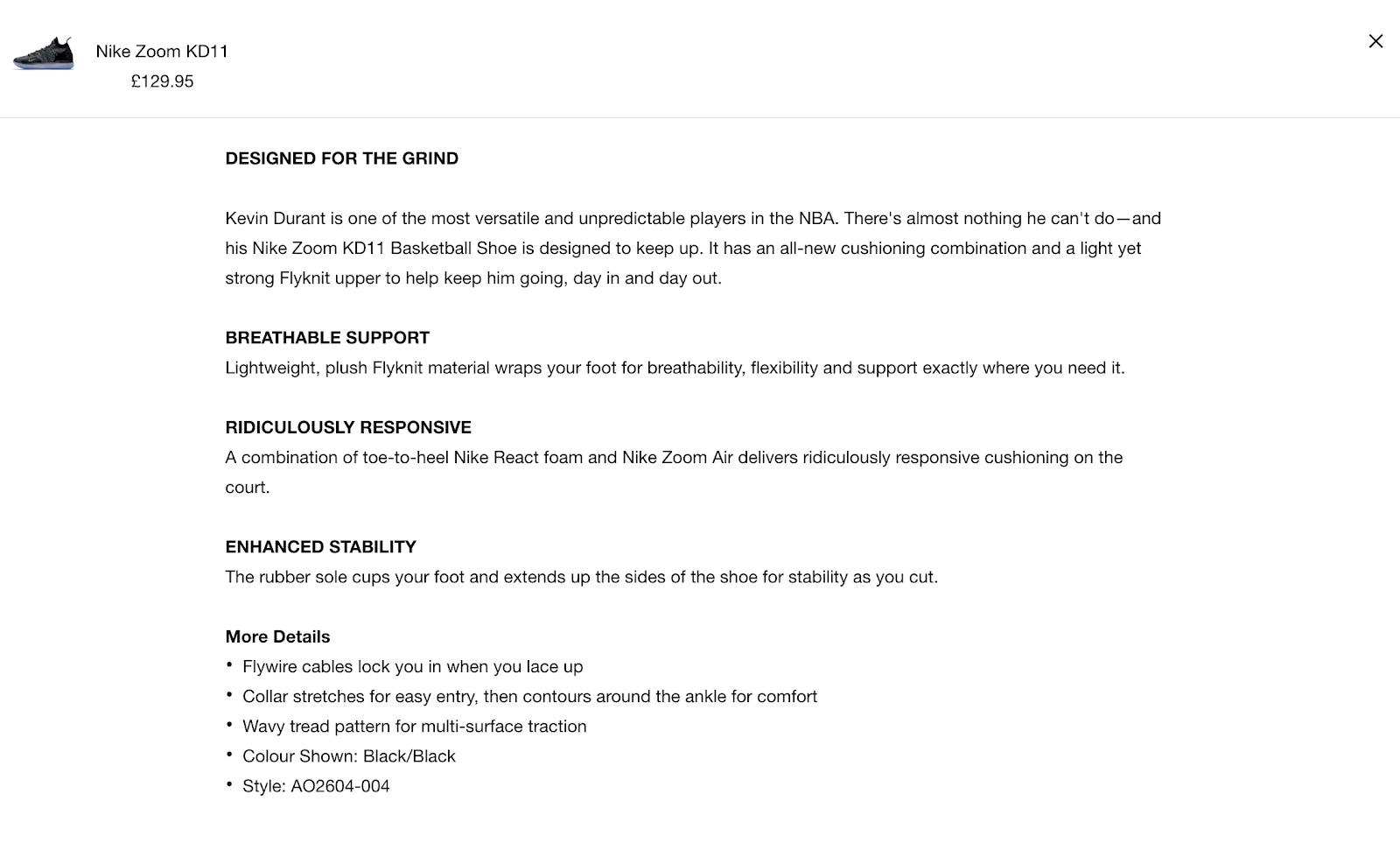 Screenshot showing product description for Nike shoes
