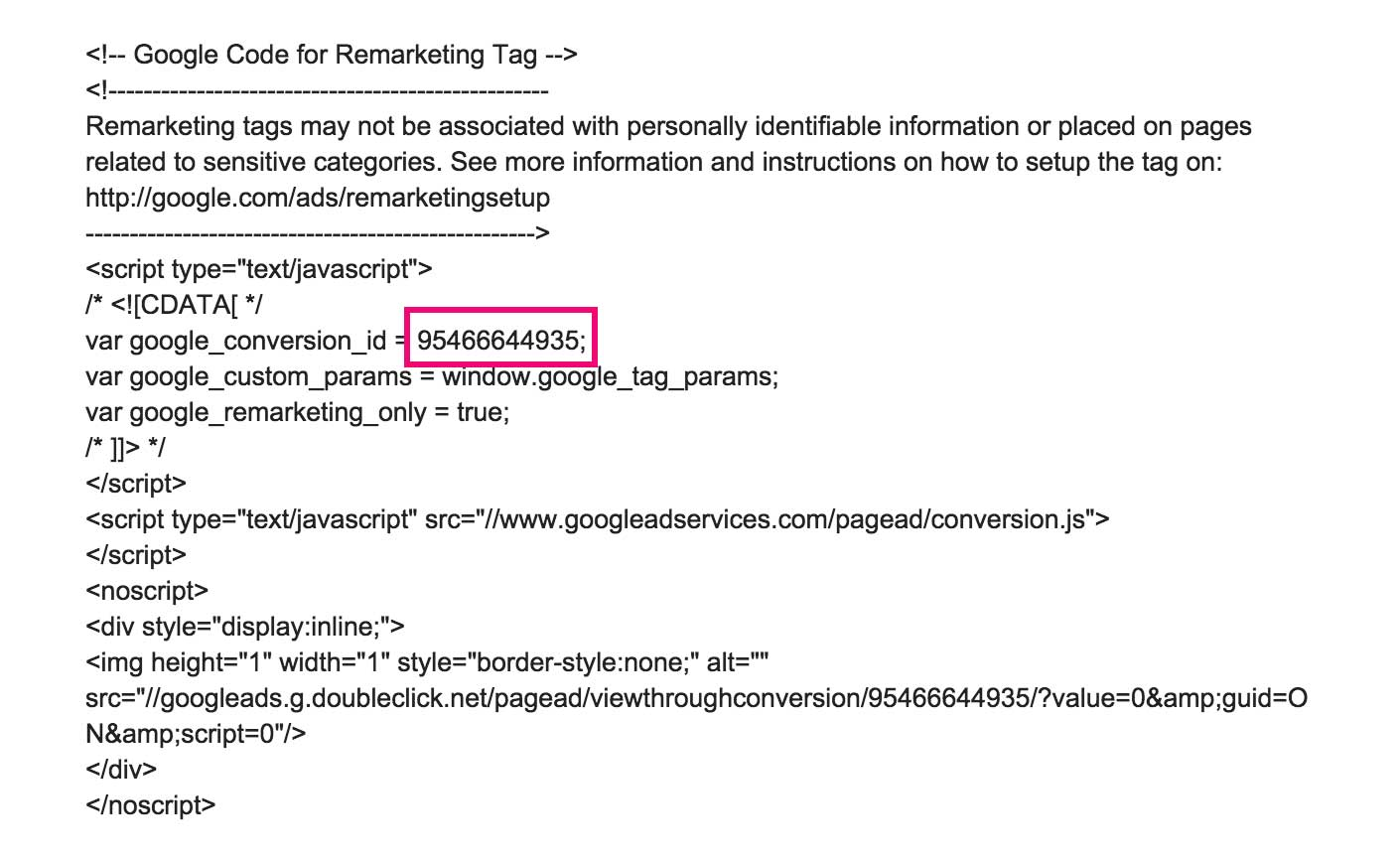Screenshot showing google remarketing tag information