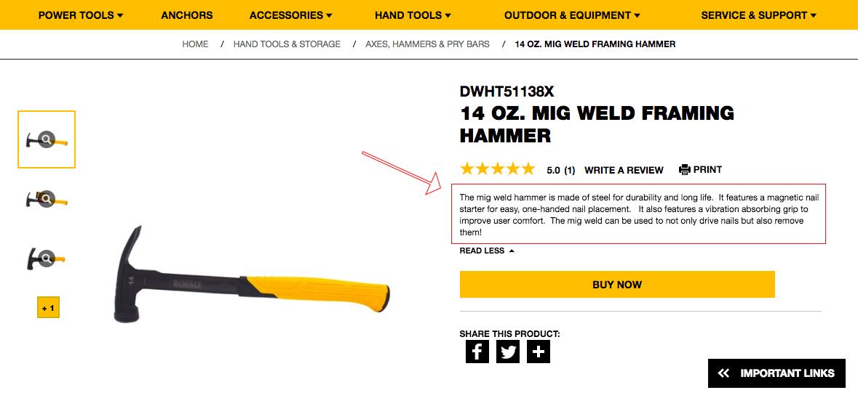 Screenshot showing a hammer