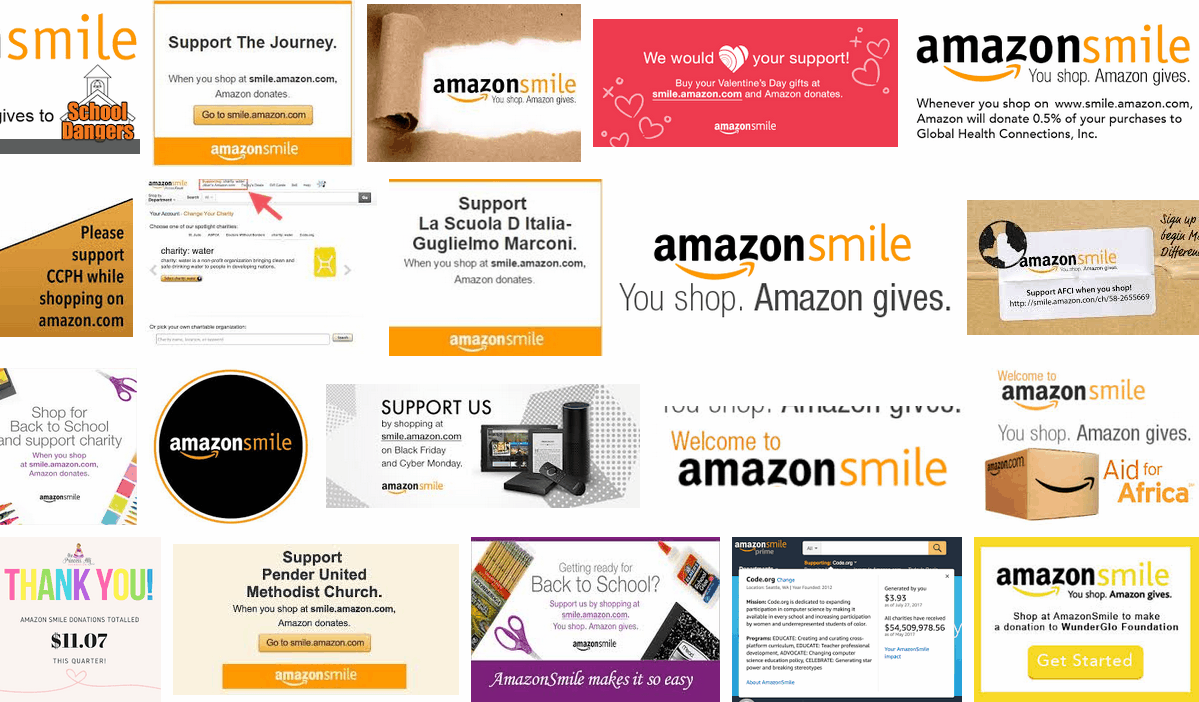 Screenshot showing promotions for amazon smile