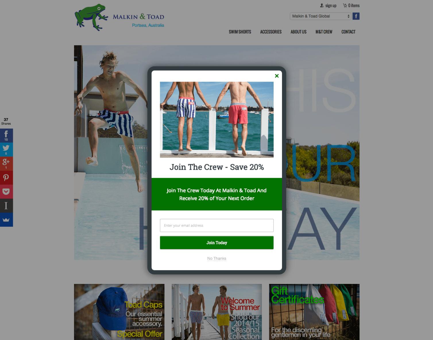 Screenshot showing a discount offer popup