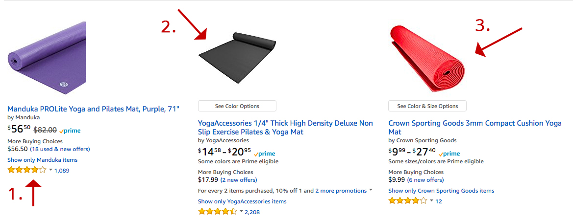 Screenshot showing different products on amazon