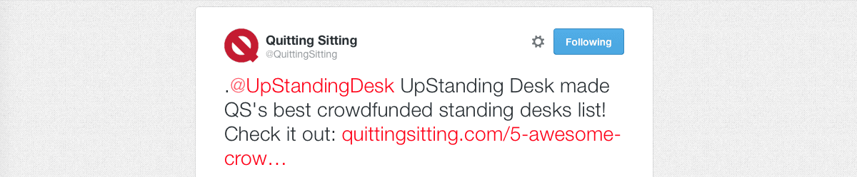 Screenshot of a Tweet by Quitting Sitting