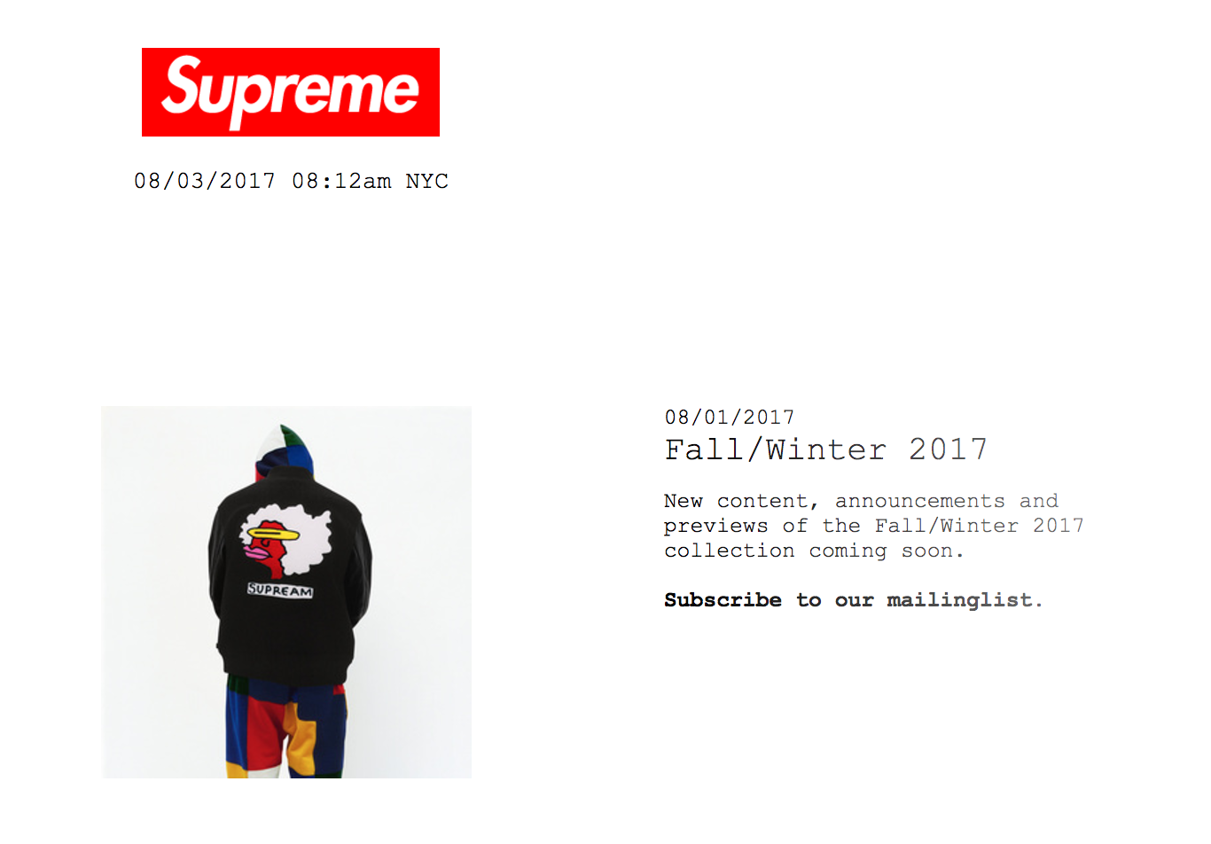 Screenshot of a product on Supreme