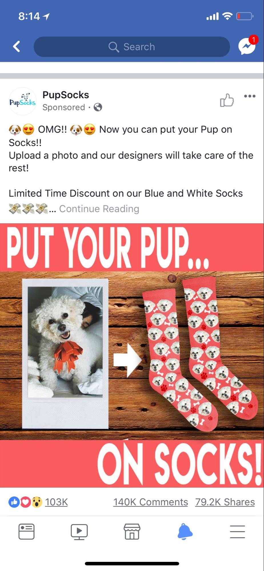 Screenshot of how an ad by iHeartDogs looks on Facebook