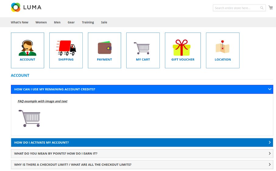 Screenshot showing an FAQ page