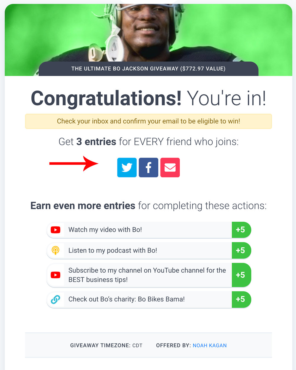 Screenshot showing a confirmation page for a sweepstakes