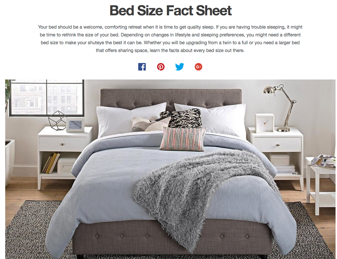 Screenshot showing information about bed sizes
