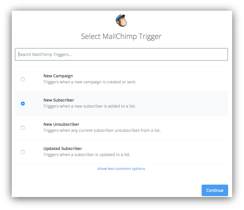 "Screenshot showing the ""select trigger"" menu on the mailchimp dashboard"