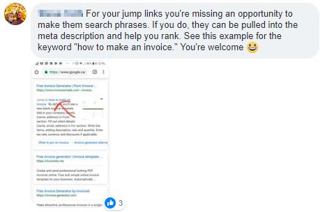 Screenshot showing a Facebook reply