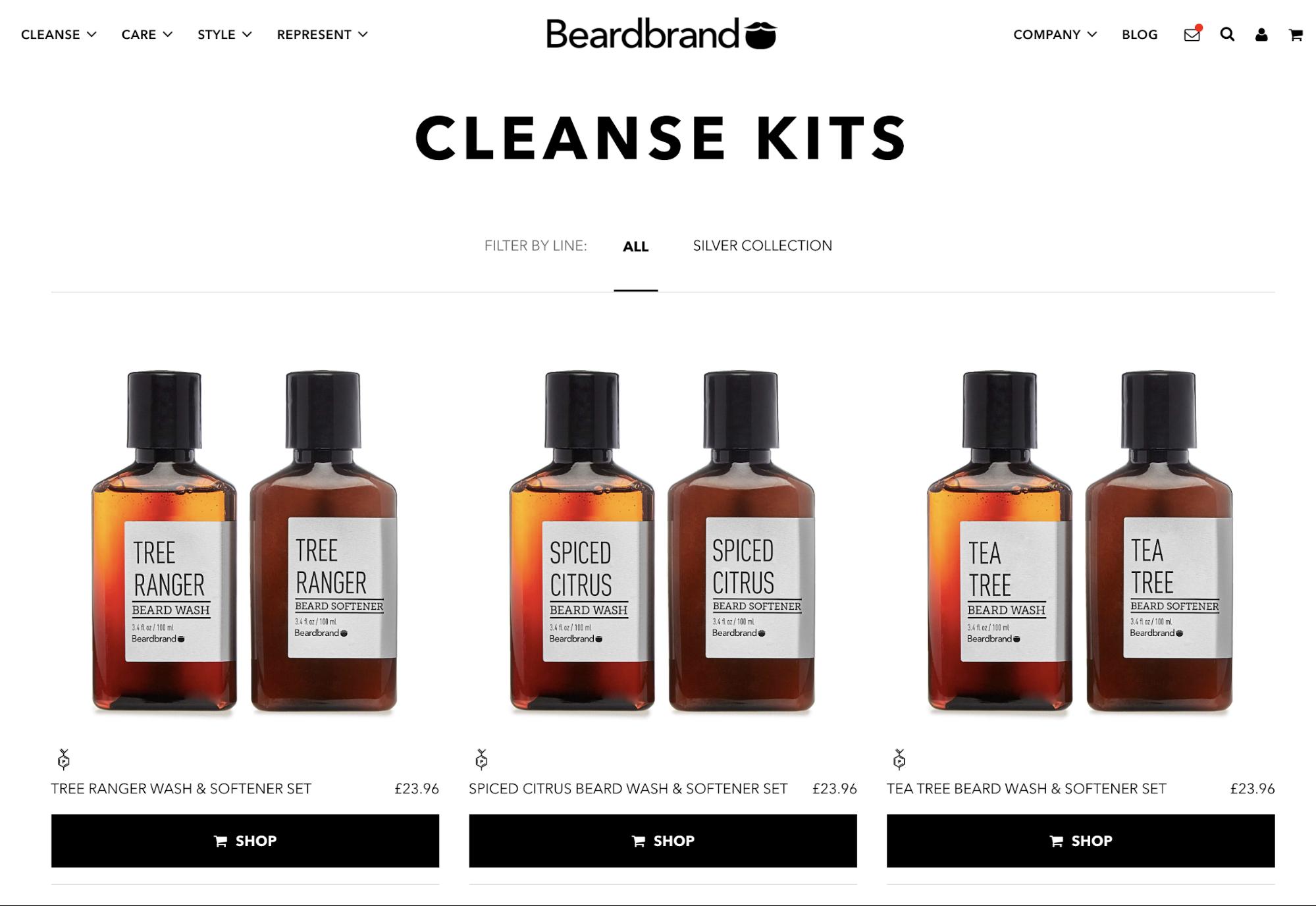 Screenshot showing cleanse kits on Beardbrand