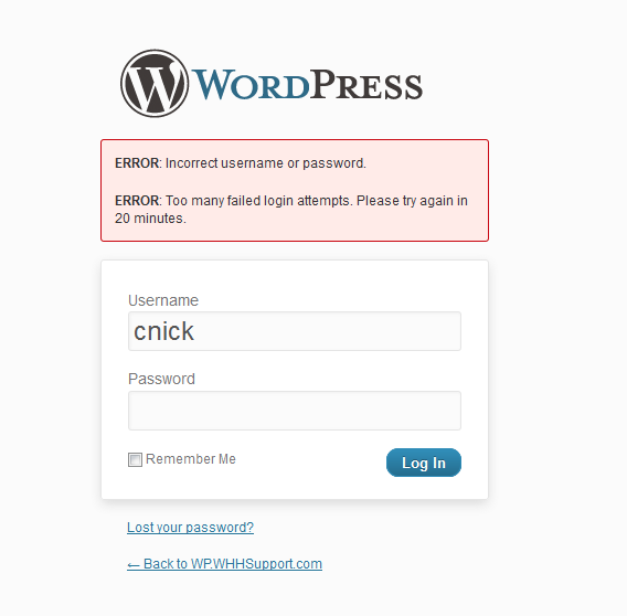 Screenshot of the wordpress login page with too many failed login attempts