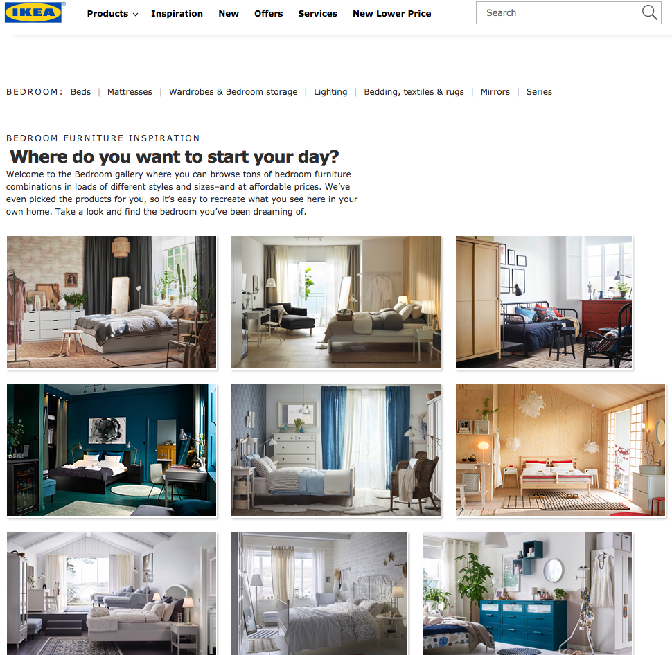 Screenshot showing a page on IKEA