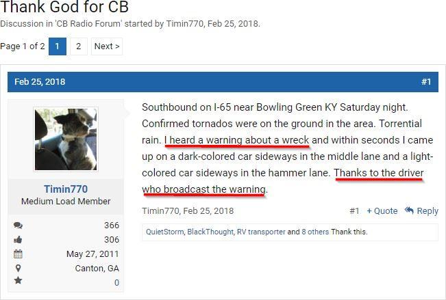 Screenshot showing a forum post