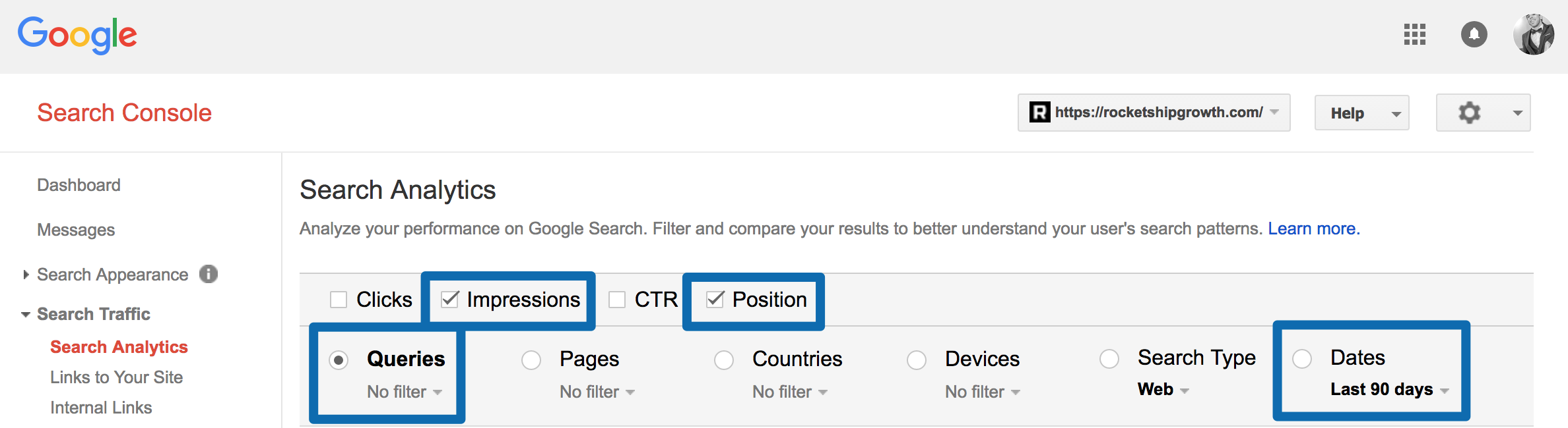 Screenshot showing an analytics search on the Google search console