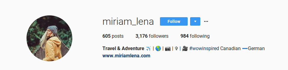 Screenshot showing an instagram profile