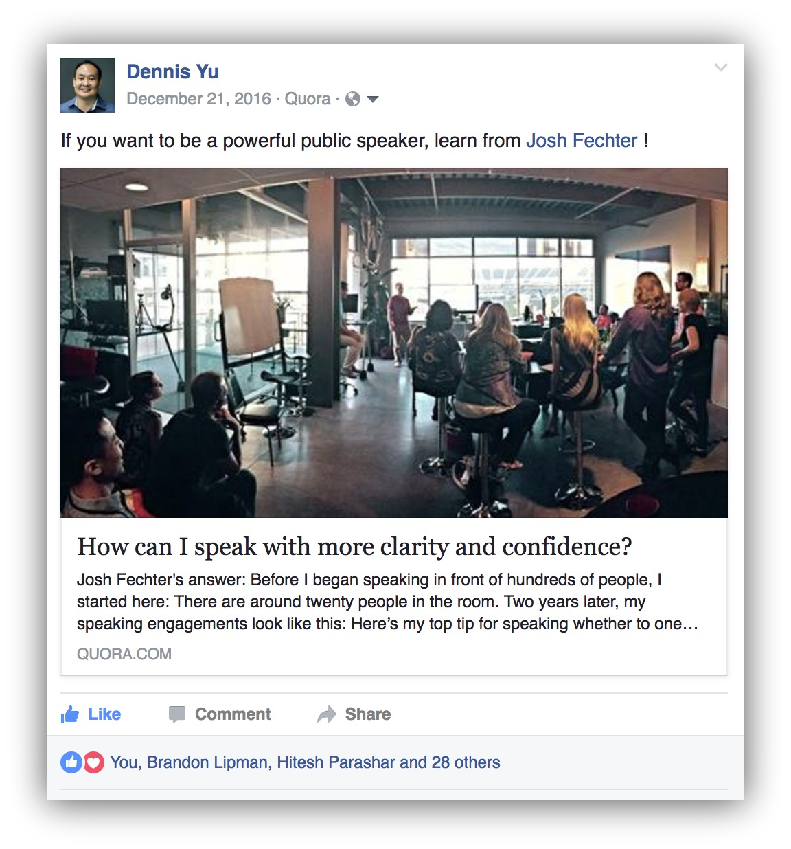 Screenshot showing a Facebook post linking to a Quora question
