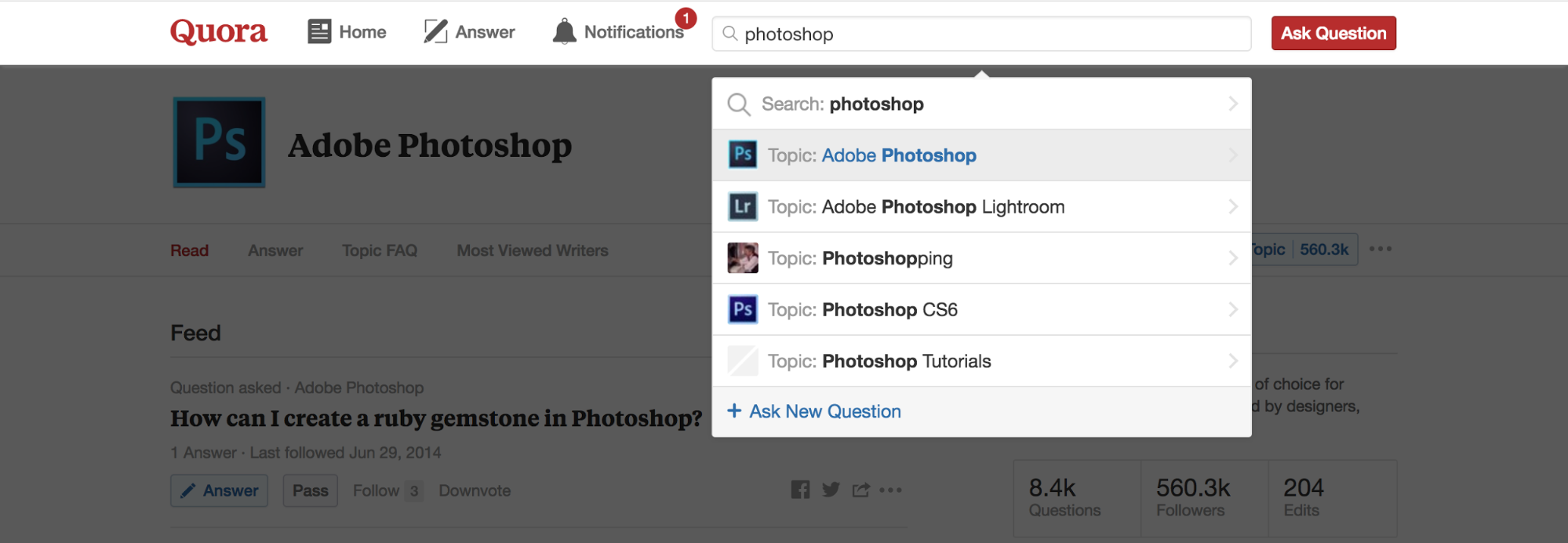 "Screenshot showing quora recommendations for search query ""photoshop"""