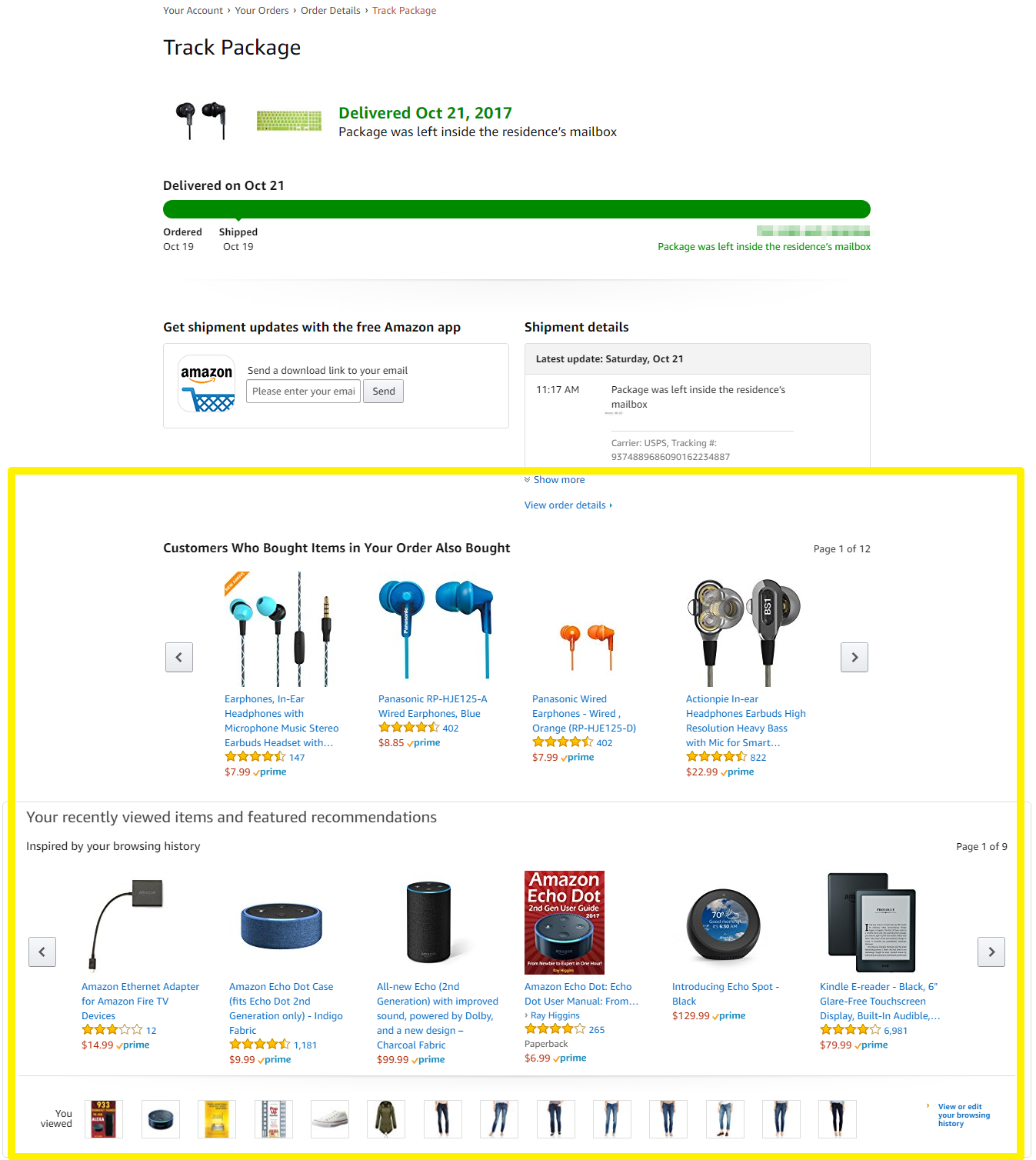Screenshot showing the order tracking page on amazon