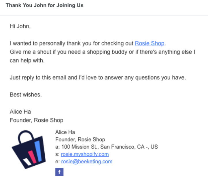 Screenshot showing a thank you email