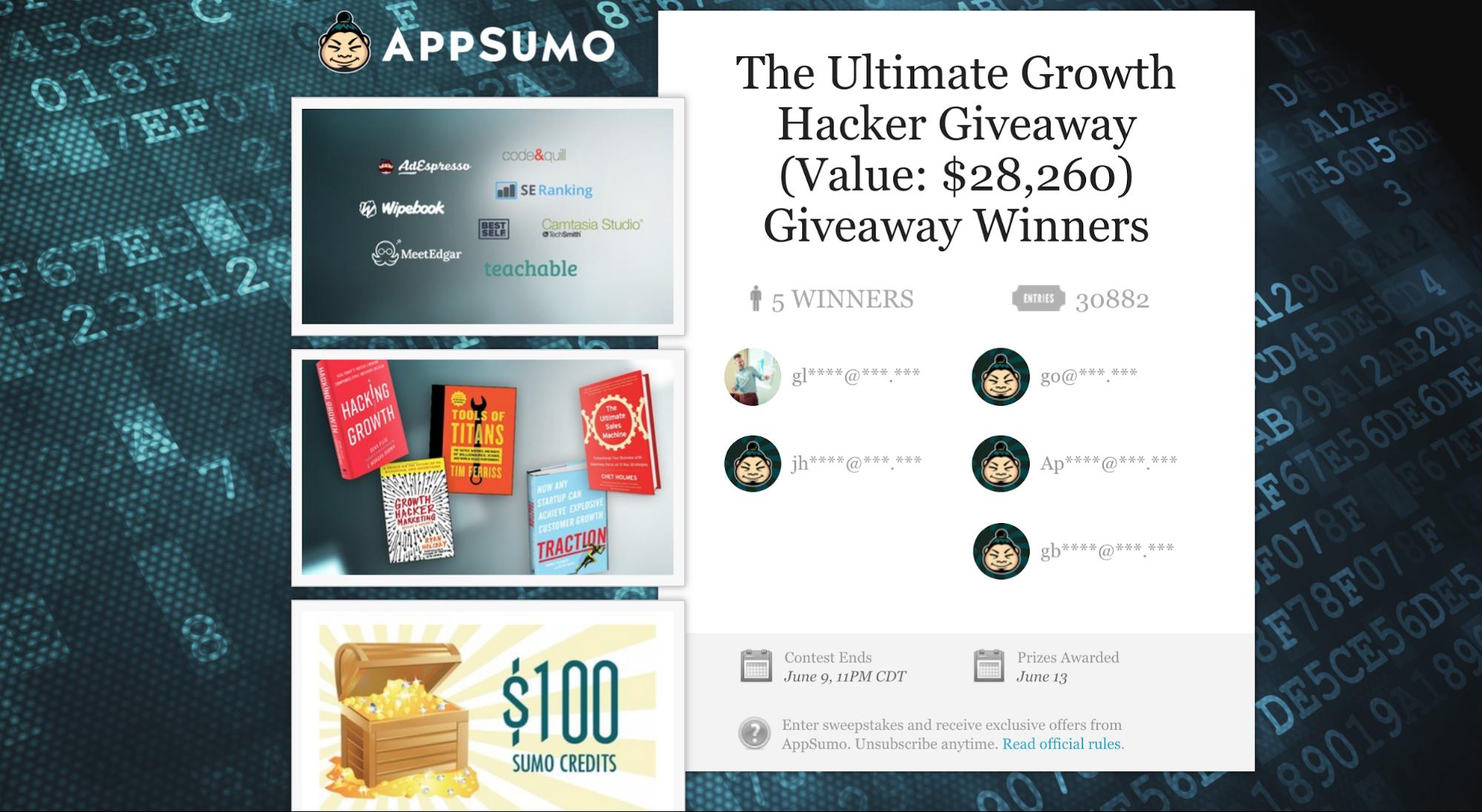 Screenshot showing an appsumo giveaway