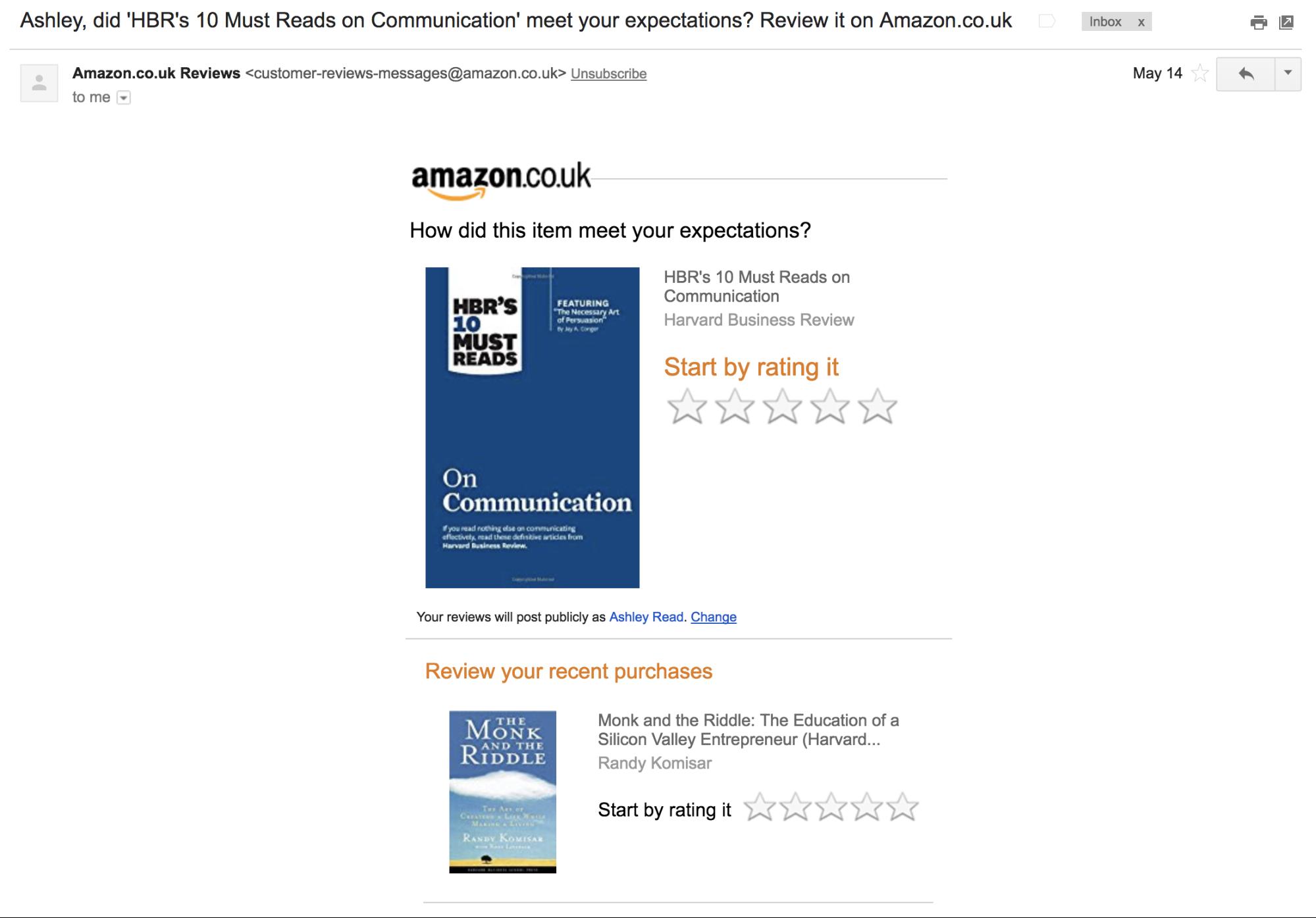 Screenshot showing an email by amazon.co.uk
