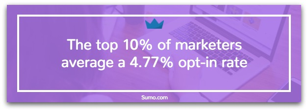 Screenshot showing stats for opt-in rates on Sumo