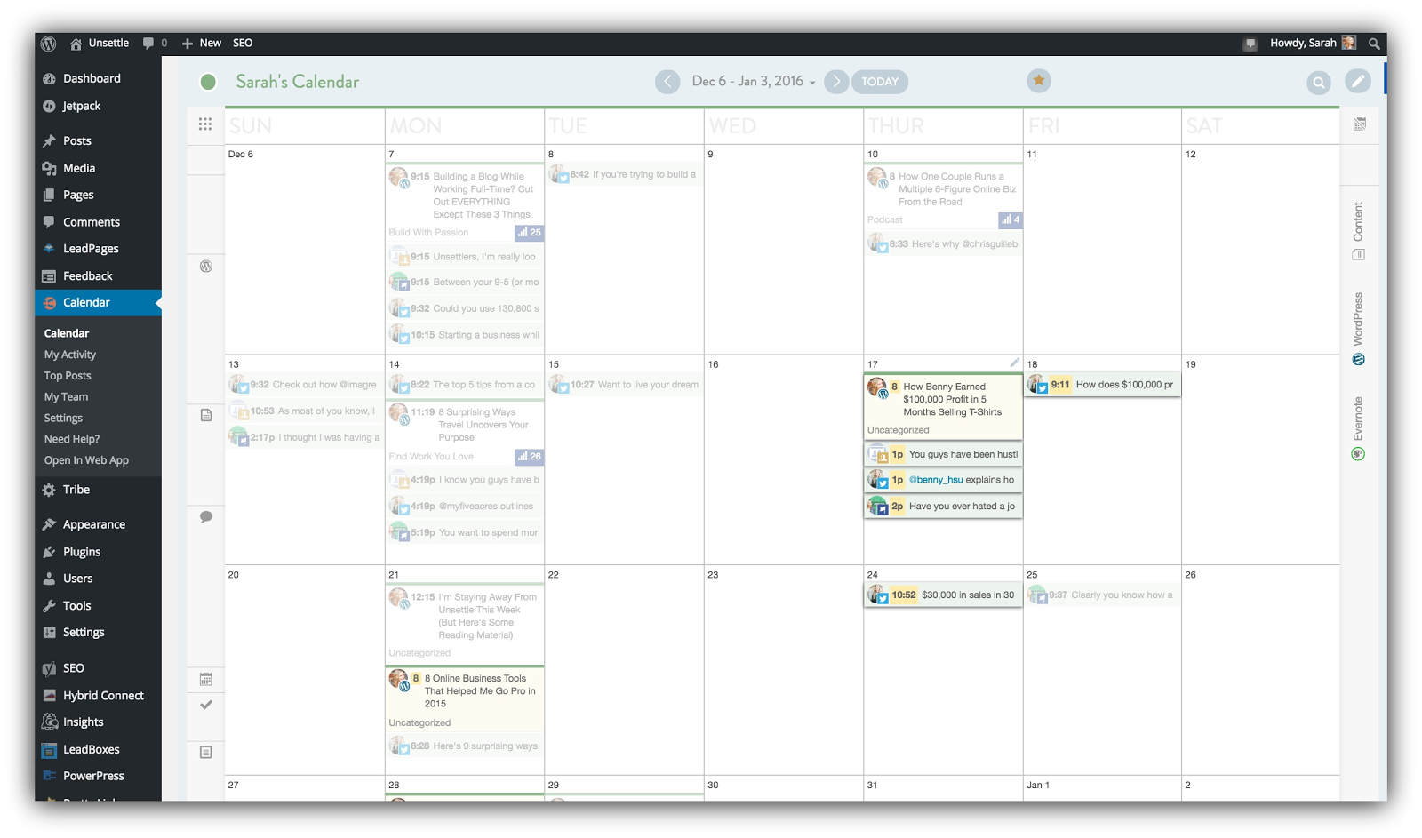 Screenshot of a wordpress plugin that puts a calendar into your dashboard